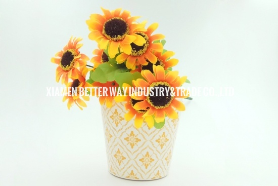 orange ceramic flower pots